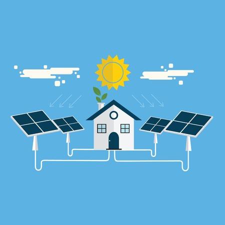 Energy Solar Energy Solar vector, solar panel with home vector Stock Vector - 79032510