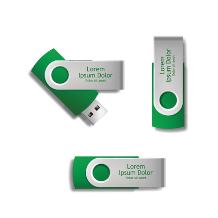 green pen drive with sample text with white background