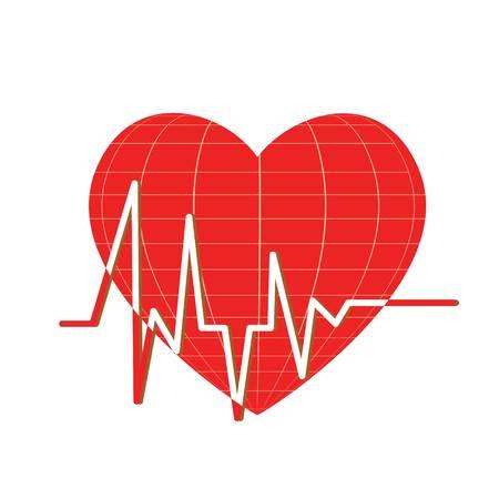 Heartbeats red heart whute background Ilustrace