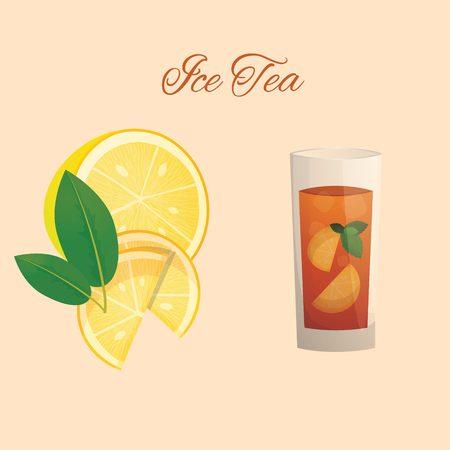 Ice tea with lemon vector