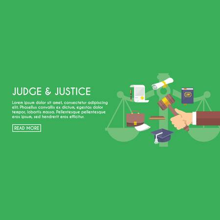 concerned: Judge and justice with elements sample text Illustration