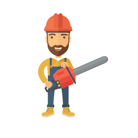 Lumberjack with hard hat as protection cuts a tree by chainsaw with white background