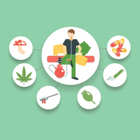esp: Man with so many type of drugs vector file Illustration