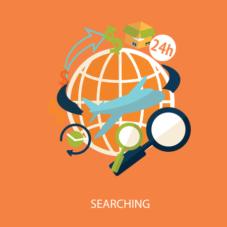 searching with world map vector Illustration