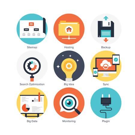 seo and development icon set vector Illustration