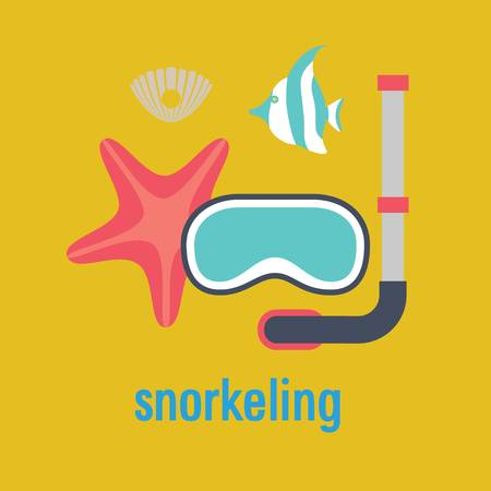 deep sea diver: snorkeling vector