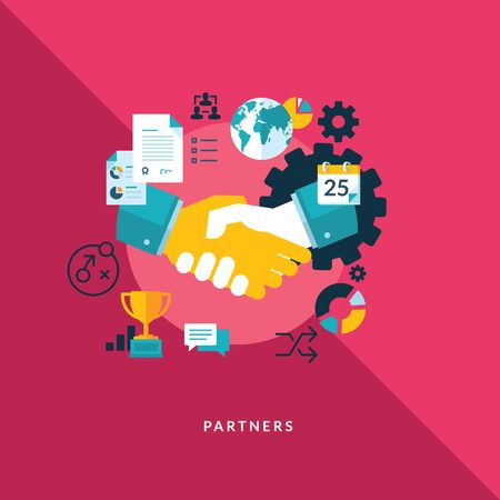 partners with elements and icons vector