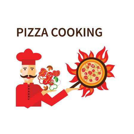 pizza cooking with cook vector