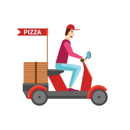 pizza delivery boy riding red motor bike vector white background Illustration