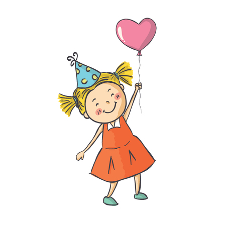 Vector illustration smiling cute baby girl standing on background with pink balloon Illustration