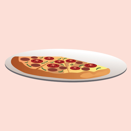A slice of pizza on a plate vector illustration Illustration