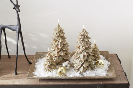 Lowes christmas trees, Real xmas trees and Xmas tree decorations Stock Photo