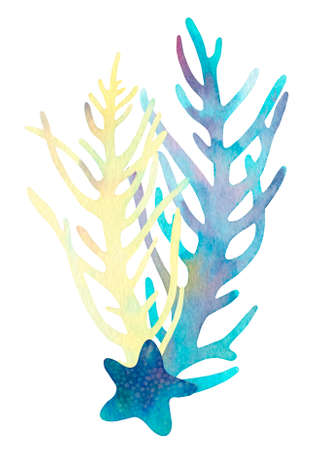 Hand drawn coral reef decorative composition. Beautiful watercolor bright blue starfish, yellow and blue aglae, underwater sea life on white background
