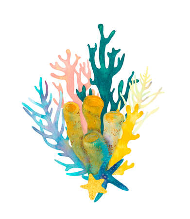 Hand drawn coral reef decorative composition. Beautiful watercolor bright green, pink and yellow corals, blue and yellow starfish, yellow and blue aglae, underwater sea life on white background