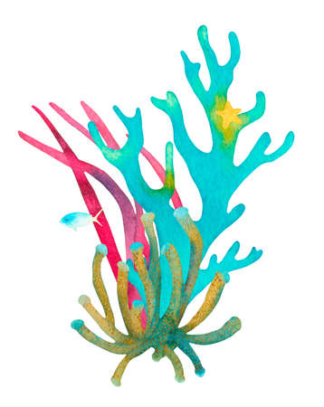 Hand drawn coral reef decorative composition. Beautiful watercolor bright blue corals, yellow starfish, blue fish, red aglae, underwater sea life on white background Reklamní fotografie