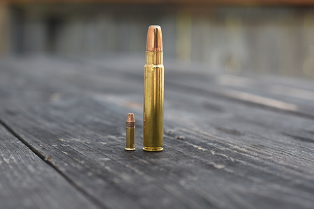 caliber: Small and big Caliber Bullet on  wooden backgroud Stock Photo