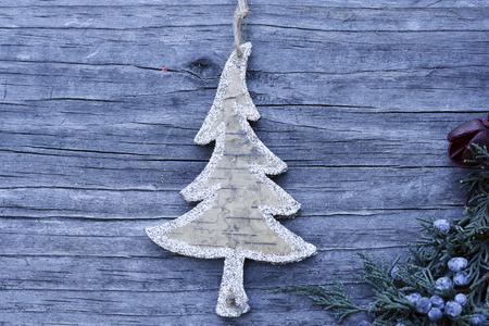 potpourri: Tree shape Ornament with potpourri on wooden backgound Stock Photo