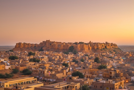Jaisalmer Fort in sunset light, Rajasthan, India, Asia
