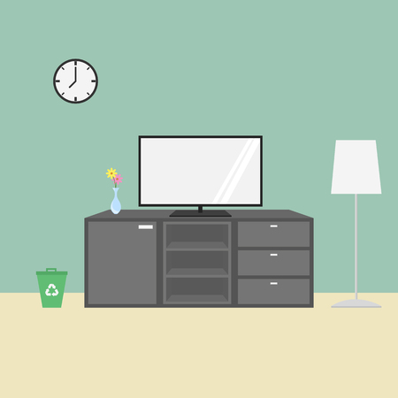 widescreen: Interior of a living room - Flat style vector Illustration