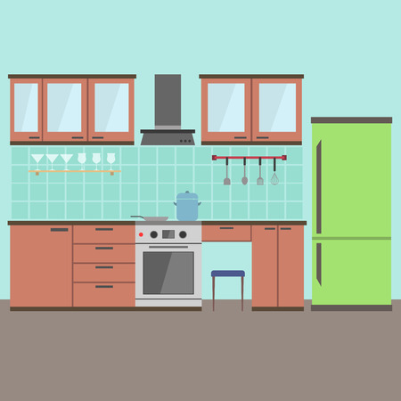modern kitchen interior: Modern kitchen Interior - Flat style vector