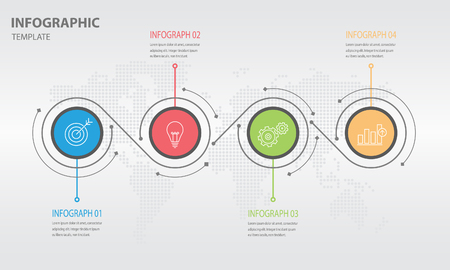 wold map: Timeline infographic design template with circle 4 option Illustration