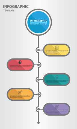 Timeline infographic design template with circle 5 option, vertical style Illustration
