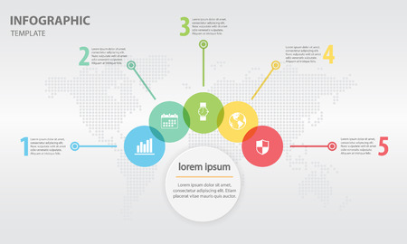 Abstract infographics templete withe circle 5 step Illustration