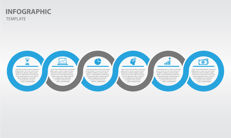 Timeline infographic two-tone design template with circle 6 option