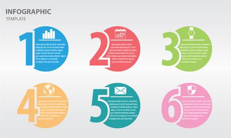 Plantilla de diseño infográfico con números seis opción Ilustración de vector