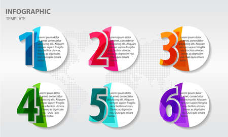 Infographic abstract design template with numbers six options