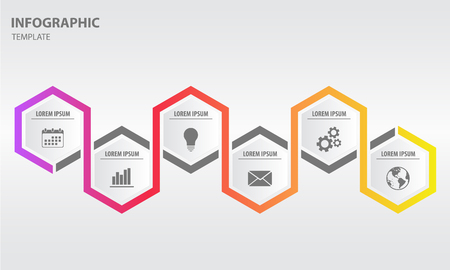 Timeline infographic design template with hexagon 6 option Illustration