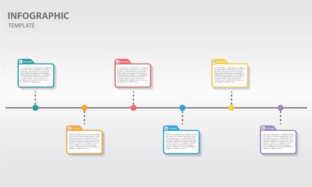 Timeline infographic design template with post it 6 option Ilustração