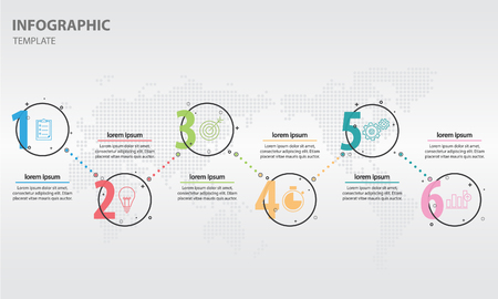 Timeline infographic design template with circle 6 options Illustration