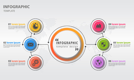 Abstract infographics templete circle 6 options template. Vector illustration.