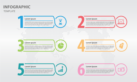 Infographic line design template with numbers six options.