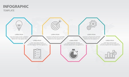 Timeline info-graphic design template with hexagon 6 step.