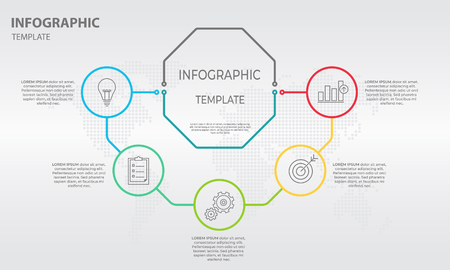 Abstract info-graphic design, hexagon with five option illustration.