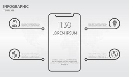 Info-graphic smartphone design display slim, smartphone icon.