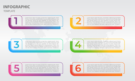 Info-graphic thin line design template with numbers six options. Vector illustration.