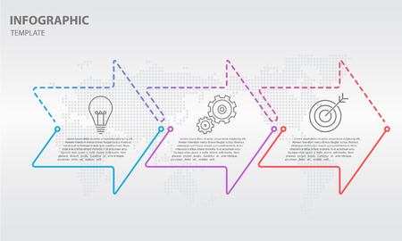 Timeline infographic thin line arrow design, 3 options.