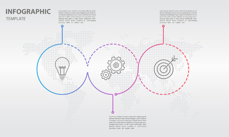 Timeline infographic thin line design, Circle 3 options. Illustration