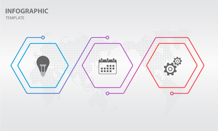 Timeline infographic thin line arrow design with hexagon 3 options.