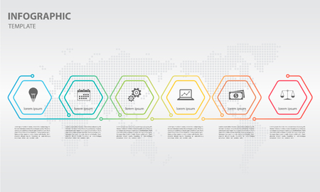 Timeline infographic thin line design with hexagon 6 options.