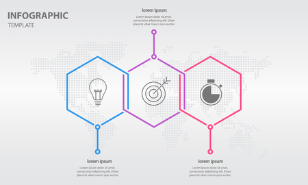 Timeline info graphic thin line arrow design with hexagon 3 options.