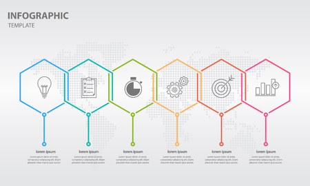 Timeline info graphic thin line arrow design with hexagon 6 options.