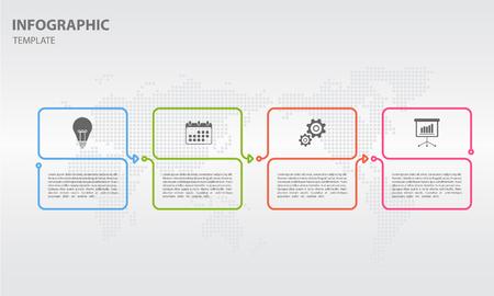 Timeline info-graphic design template with 4 options illustration. Illustration