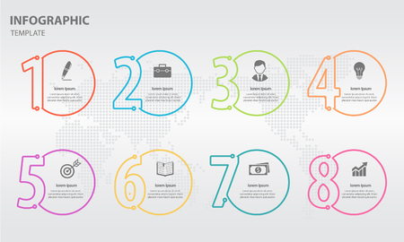 Info-graphic thin line design template with numbers 6 options. Illustration