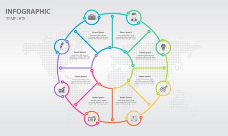 Info-graphic thin line circle design 8 options illustration.