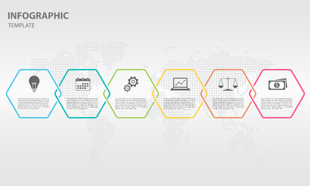 Timeline info-graphic thin line design with hexagon 6 options.