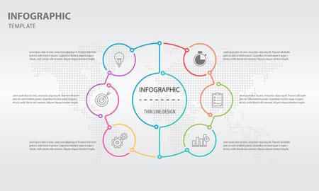 Info-graphic thin line circle design 6 options illustration.